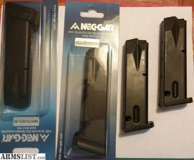 For Sale: 2 Beretta 20 Round Mec-gar mags NEW 2 factory 15 mags for 92 FS Model