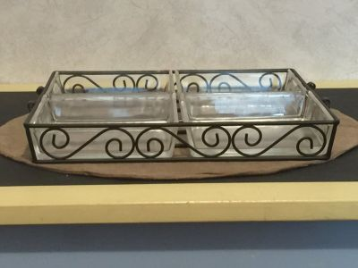 Decorative Sectioned Serving Tray w/Handles