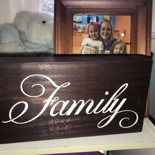 Wooden hand painted sign Family