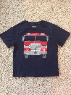 FIRE TRUCK Baby Gap T-shirt Size 4 SO CUTE- Printed Front and Back