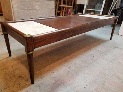 Vintage Mid Century Wood and Marble Coffee Table