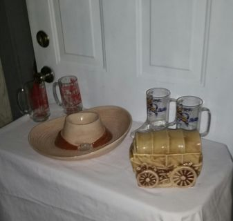 Cowboy hat chip and dip, Stage coach cookie jar, 2 Pepsi Dixie Stampede boot glasses & 2 Tombstone Territory glasses. All for $12