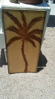 Wood palm tree picture size 14 x 28 $5 excellent condition