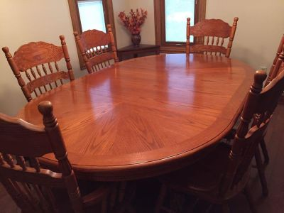 Oak Dining Room Table, 6 Chairs, and China Hutch