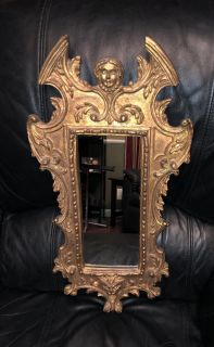 Antique Hand Carved Hand Painted Wood Mirror.