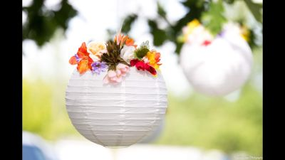 Paper lanterns with flowers