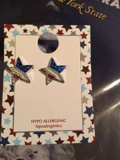 Crystal star Memorial Day Fourth of July summer earrings NWT