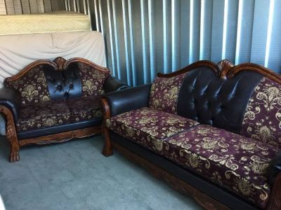 Leather and brocade claw sofa Couch love seat set