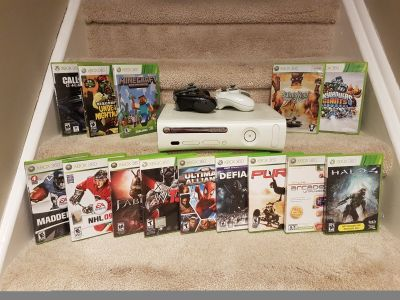 HUGE Xbox 360 Bundle 2 Controllers 19 Games all Cords!
