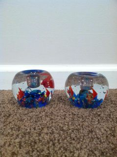 Glass Fish candle holder or paper weight