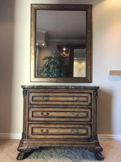 Wood and marble side dresser table with mirror