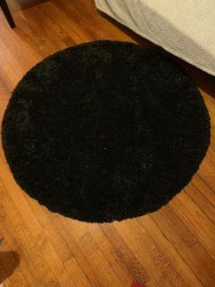 Cozy Plush Black Shag Rug - 4' x 4' Round