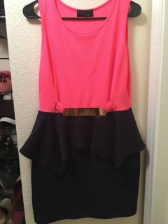 Large pink and navy blue dress