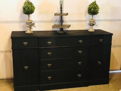 Restyled Duncan Phyfe Style Buffet/Media Center/Entryway Statement Piece