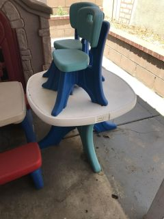 Step2 table with two chairs Great condition asking $20 OBO