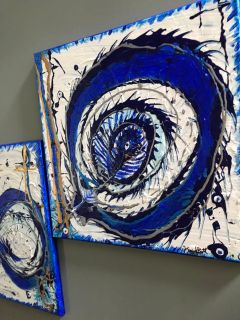 Pair of paintings -blues-white-silver -gold