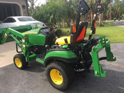 $13,400, John Deere 1025R tractor with front end loader I-Hitch and Box Blade