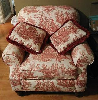 Red Toile Overstuffed Chair w/Pillows