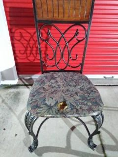 Wrought Iron seat with Wood Head Rest
