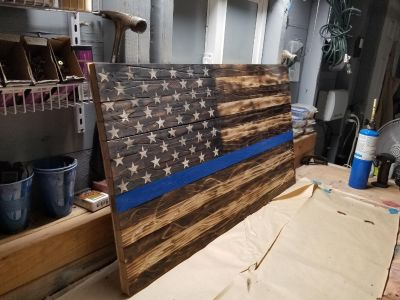 Wooden police officers flag,thin blue line