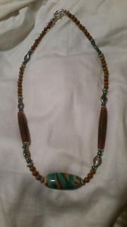 Handmade Brown and Turquoise Beaded Necklace