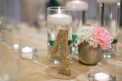 Handmade Wooden Champagne Glitter Table Numbers