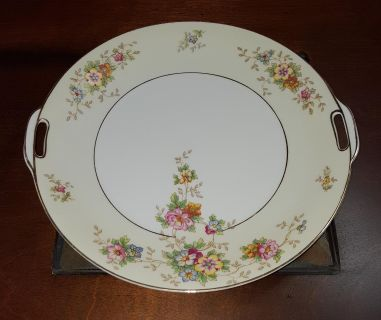 HC28 Floral Serving Platter with Handles and Gold Trim