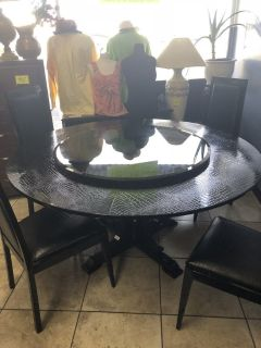 VIG A & X Gothic Luxury Cocodrile Table w/4 Chairs & Buffet Table w/Mirror