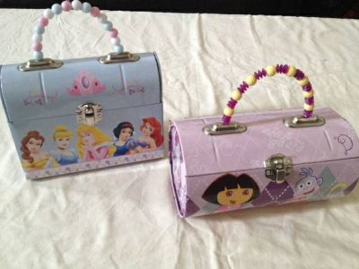 dora and cinderella metal purses with beaded handles