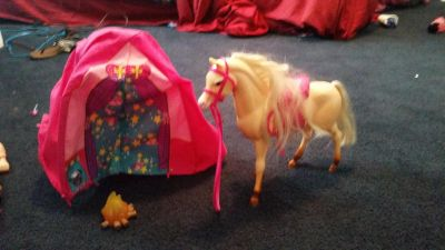 Barbie house and accessories.