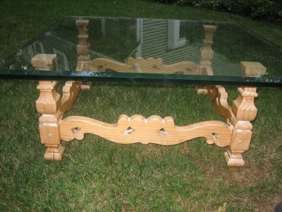 french country glass and wood coffee table
