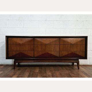 On hold Iconic MCM Diamond Front Walnut Dresser