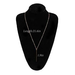 Yfe Bar Pendent Necklace Long Vertical Necklaces Jewelry for Women and Girls Minimal Necklace (Gold)