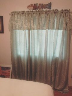 2 large curtains valance built in pretty green
