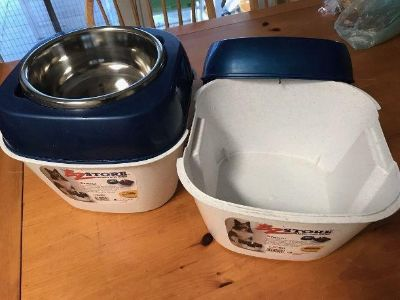 2 Dog Bowl Food Containers and Bowls