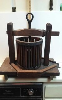 Antique cider press with forged crank