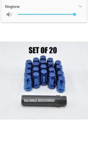 Metallic blue lug nuts