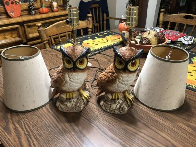 Pair of Antique Owl Lamps w/ Shades