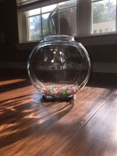 1 Gallon Fish Tank/Bowl w/ Multi Color Rocks