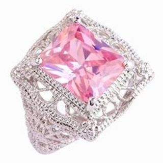 CLEARANCE ***BRAND NEW***Solitaire 925 Sterling Silver Gorgeous*13mm Emerald Cut Pink Ring***