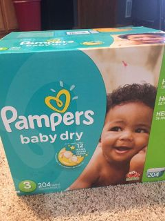 Pampers baby dry size 3 diapers, new box of 204. Smoke free pet free home