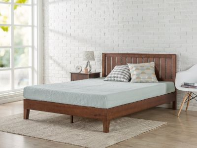 Zinus King 12 Inch Deluxe Solid Wood Platform Bed with Headboard