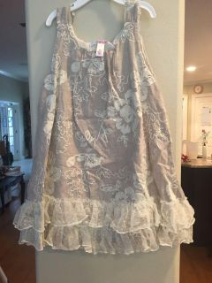 4T linen flower embroidered dress with lace trim