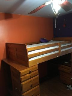 Loft bed with desk and shelves