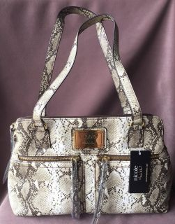 """Nicole Miller """"Mia"""" Tote, Brown & Ivory - NEW"""