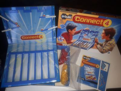 Connect 4 U- build game, (blocks like Lego.) Comes with everything shown including instructions! Kids can take it apart & rebuild it