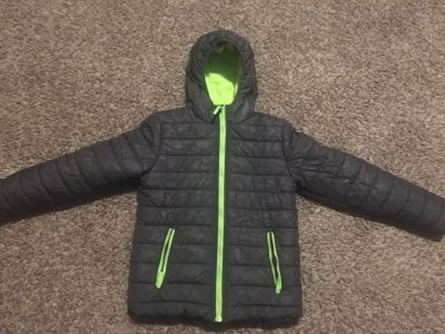 Boys: 12/14 Charcoal and green puffer winter coat. Fantastic condition--FIRM ON PRICE