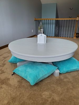 Solid oak homework/ craft/ coffee table with 4 floor cushions