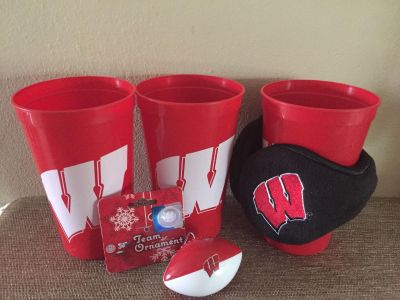 WISCONSIN BADGERS SET 3 cups ear muffs and football ornament