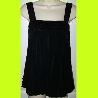 SIZE MEDIUM - DRESSY BLACK TOP WITH BLACK SEQUINS UNDER MESH ACROSS THE TOP